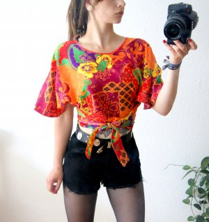 Vintage Wickelshirt bunt gemustert, florale Cape-Bluse, 80er blogger