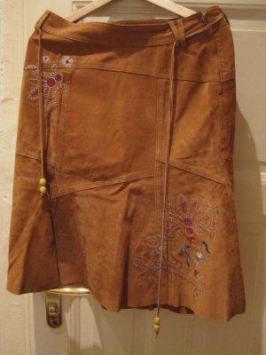 Vintage Wild- Lederrock mit Stickerei, Größe M, entspricht 38/40