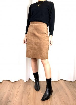 Leather Skirt light brown-sand brown suede