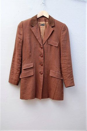 Made in Italy Leather Blazer brown-cognac-coloured suede