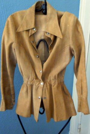 Vintage- Wildlederjacke,  beige, 36