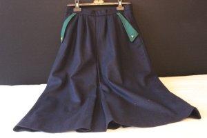 Vintage Falda de lana verde bosque-azul oscuro
