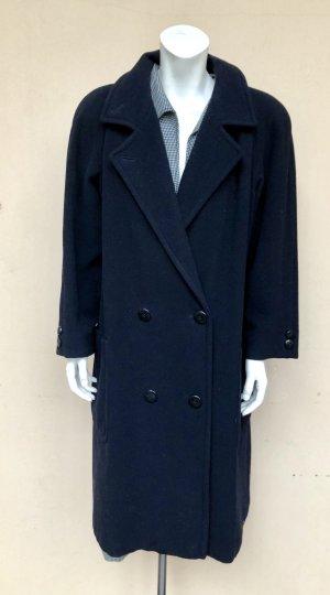 Vintage Wintermantel Gr. 38 blau dunkelblau Wolle Kaschmir Cashmere knielang Zweireiher schlicht