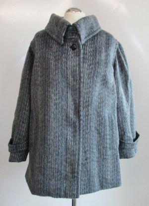 Vintage Wintermantel Kurzmantel Wollmantel Größe L 40 42 Mantel Grau Blau Streifen Flor Warme Jacke Turtleneck Rockabilly Mohair Merino Viskose