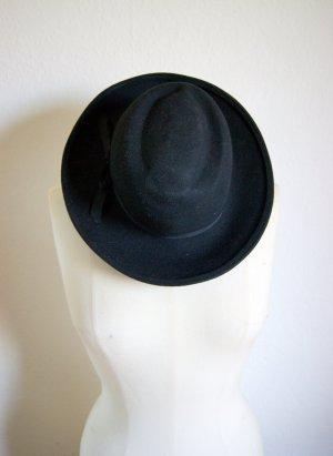 Vintage Wollhut schwarz, runder Hut aus Wolle mit Schleife, preppy blogger alternative