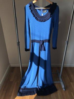 Robe longue bleu acier laine