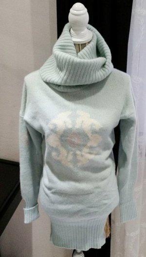 Vintage Wollkleid weiß hellblau Wolle 34 36