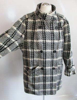 Vintage Wollmantel Golden Gate Größe 44 Schwarz Weiß Grau Wollweiß Karo kariert Mantel Jacke Wolle Mohair Schurwolle 60er 70er Rockabilly