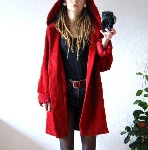 Vintage Wollmantel rot, oversized Kapuzenjacke reine Schurwolle, Rotkäppchen alternative blogger
