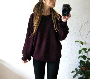 Vintage Wollpullover burgund, oversized Pullover reine Schurwolle, cozy hygge alternative
