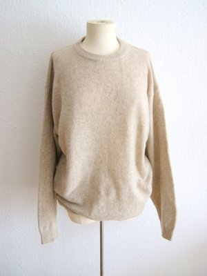 Vintage Wollpullover hellbeige, oversized Pullover Wolle creme, alternative blogger