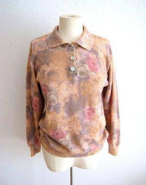 Vintage Wollpullover pastell, oversized Pullover Wolle Rosen, preppy blogger