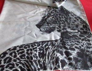 VINTAGE XL Tuch Schal Halstuch Schultertuch Scarf Seide ? weiß creme mit schwarzem Print Leoköpfe Büsten Leo Leopard Tiger selten RAR edel ausgefallen TOP