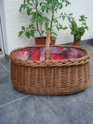 Vintage Bolso tipo cesta multicolor madera
