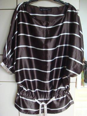 Vintage - Zara Basic Bluse S braun creme Gr. 40 42 - einzigartig ausgefallen