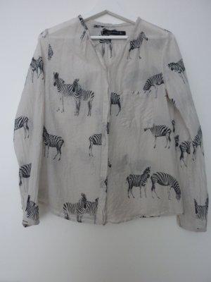 Vintage Zara Woman Animal Print Blogger Bluse Shirt Oberteil Größe S Zebra
