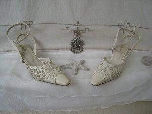 Vintage Zauberhafte Hochzeit Anlass Schühchen Creme Sweet & Sexy Lochmuster