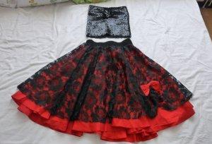Twin set in tessuto nero-rosso