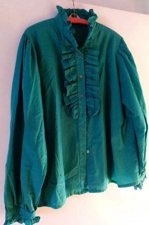 Ruffled Blouse turquoise polyester