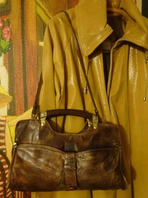 Carry Bag brown-gold-colored leather