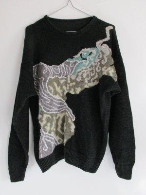 Vintge 80er Jahre Strickpullover Größe L 42 Anthrazit Schwarz Beige Grün Grau Weiß Angora Viskose Strick Pulli Pullover Muster