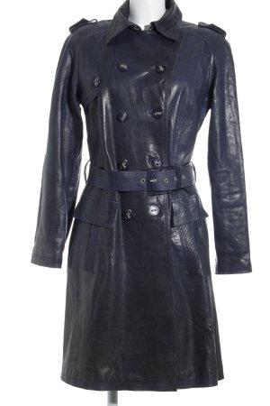 violanti Leather Coat dark blue wet-look