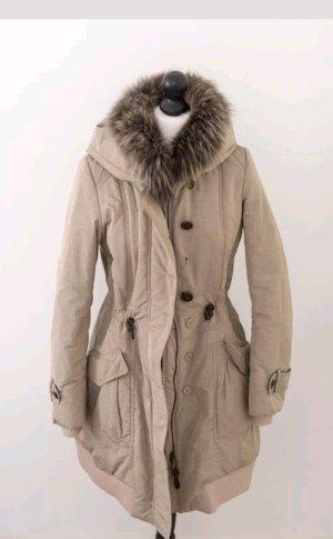 Violanti mantel jacke mit Pelzkragen beige