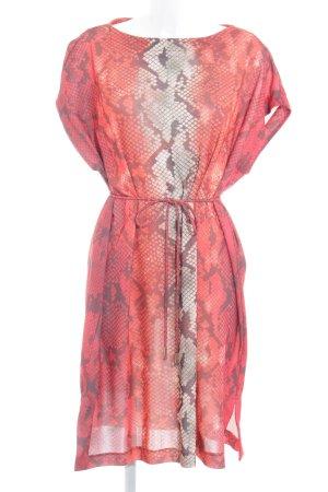 Violeta Caftán naranja-rojo estampado con diseño abstracto estilo extravagante