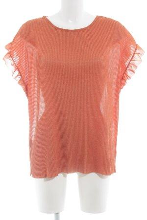 Violeta Kurzarm-Bluse orange-goldfarben Streifenmuster Casual-Look