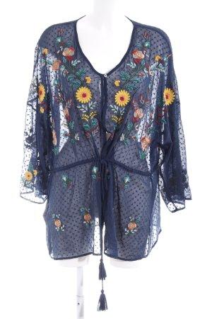 Violeta Tunique-blouse bleu foncé motif de fleur style hippie