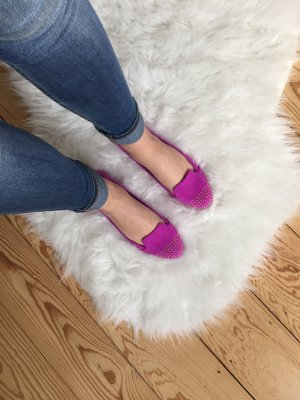 Violette Loafer mit goldenen Nieten, Gr. 38