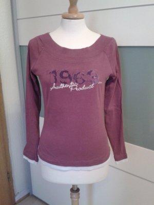 Violettes Longsleeve-Shirt mit Flock-Druck