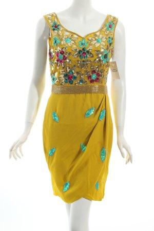 Virgos Lounge Pailettenkleid dunkelgelb-türkis florales Muster Casual-Look