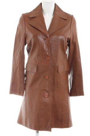 Virmani Leather Coat brown casual look