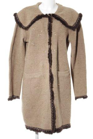 Virmani Manteau en laine brun foncé-marron clair motif de fleur