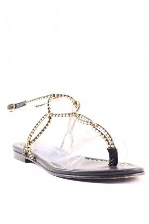 Visconti & du Réau Sandalo toe-post nero-oro stile casual