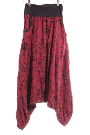 Vishes Haremshose taupe-karminrot Blumenmuster Ethno-Look