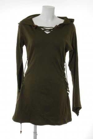 Vishes Hooded Dress green grey extravagant style