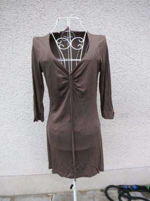 Viskose Tunika Minikleid mit Raffung in Khaki Gr M
