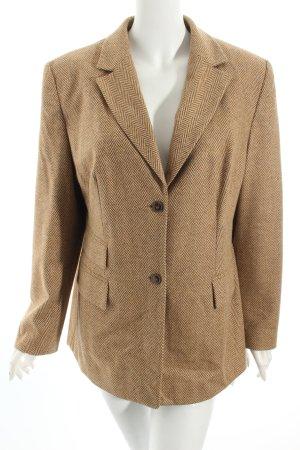 Vittoria Verani Woll-Blazer hellbraun-beige Zackenmuster Vintage-Look