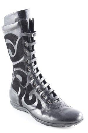 Vivace Bottes à lacets noir motif abstrait style décontracté