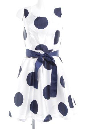 Vivance A-Linien Kleid weiß-dunkelblau Punktemuster klassischer Stil