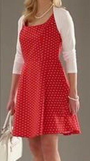 Vivance Collection - A-Linien-Kleid - mit Tupfen - rot weiß Gr. 36 NEU!