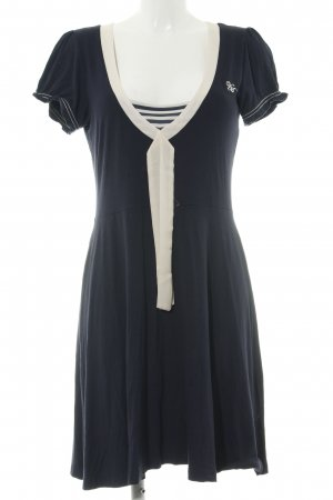 Vive Maria Jerseykleid blau-creme Schriftzug gestickt Casual-Look