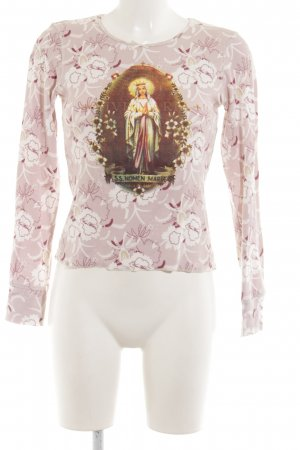 Longues Motif Blanc Vive Fleur À Rose De Simple Top Style Manches Maria UqpGzMVS
