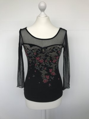Vive Maria Shirt Langarm schwarz mit Blumen, teils transparent und getupft
