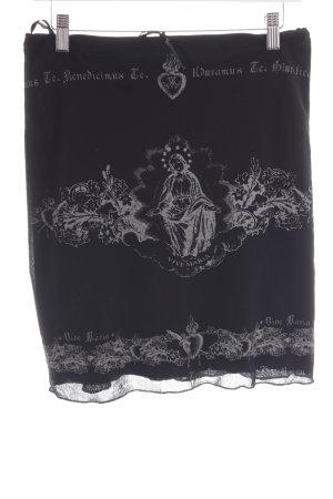 Vive Maria Stretchrock schwarz-silberfarben Motivdruck Casual-Look