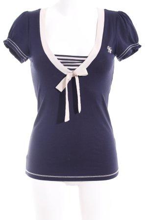 Vive Maria Camiseta azul oscuro-crema estilo naval