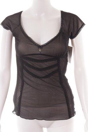 Vive Maria V-Ausschnitt-Shirt schwarz-wollweiß Lingerie-Look