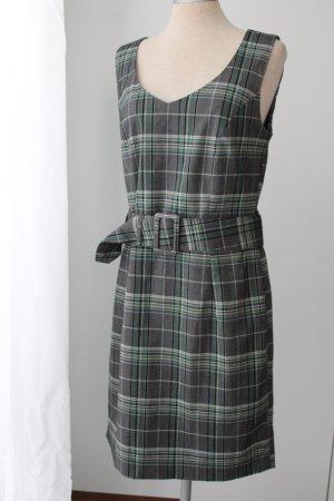 Vivien Caron Gr. 38 S M Sommerkleid Etuikleid Gürtel Business Länge 95 cm grün grau weiß kariert